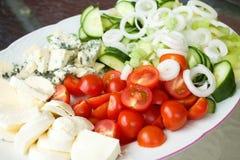 Grande piatto in pieno della verdura fresca e di due generi di formaggio Fotografia Stock Libera da Diritti