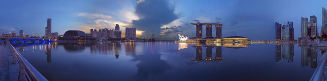 Grande pic supplementare di Paranoma della mattina di Singapore Fotografia Stock Libera da Diritti