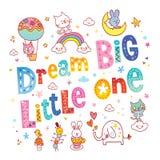 Grande piccolo quello di sogno scherza l'arte della scuola materna illustrazione vettoriale