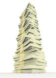Grande pile d'argent des dollars Etats-Unis argent de finances de concepts de calculatrice photo libre de droits