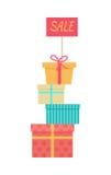 Grande pile de concept enveloppé de vente de vecteur de boîte-cadeau illustration stock