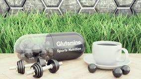 Grande pillola della glutamina, due teste di legno e una tazza di caffè Nutrizione di sport per l'illustrazione di culturismo 3d immagini stock libere da diritti