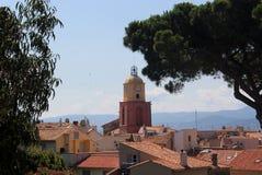 Grande pinho no fundo dos telhados telhados e da torre de sino da igreja de Saint Tropez Ruas hist?ricas de Saint Tropez imagens de stock