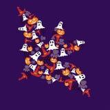 Grande pipistrello con il fantasma, la zucca e la ragnatela Immagine Stock