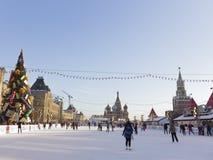 Grande piste de patinage merveilleuse sur la place rouge Images libres de droits