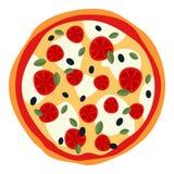 Grande pizza avec du fromage et des tomates sur le blanc Photographie stock