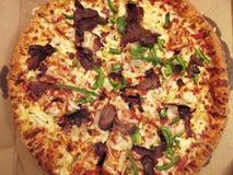 Grande pizza rasa del manzo Immagine Stock Libera da Diritti