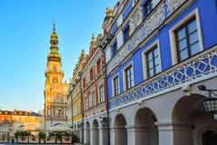 Grande place du marché, Zamosc, Pologne - septembre, 21, 2018 : Hôtel de ville de Zamosc sur la grande place du marché Grande pla photographie stock libre de droits