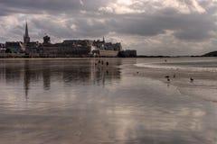 Grande Plage And Saint Malo Stock Image