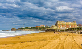 Grande Plage, a beach in Biarritz Stock Photos
