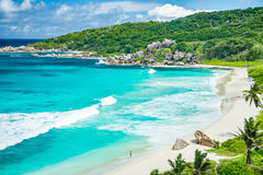 Grande plage d'Anse Photographie stock