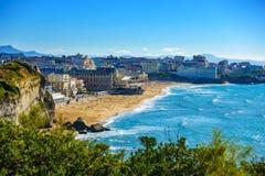 Grande plage de Biarritz dans les Frances Images libres de droits