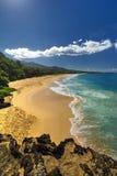 Grande plage, plage d'Oneloa, Maui du sud, Hawaï, Etats-Unis Photo stock