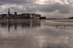 Grande Plage and Saint Malo Stock Image