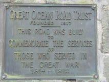 Grande plaque de confiance de route d'océan Image libre de droits