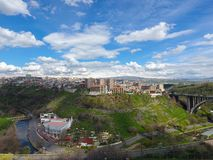 Grande ponte de Hrazdan, Yerevan, Armênia fotografia de stock