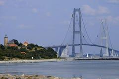 Grande ponte de suspensão da correia, Dinamarca fotos de stock
