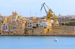 Grande porto di valletta; le tre città; Cospicua Fotografie Stock
