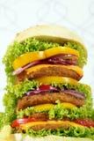 Grande primo piano dell'hamburger Fotografia Stock
