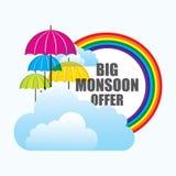 Grande progettazione dell'insegna di offerta di monsone illustrazione vettoriale