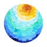 Grande progettazione della pittura dell'acquerello della terra del mondo dell'oceano della piccola isola Fotografie Stock Libere da Diritti