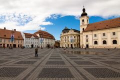 Grande quadrato del mercato, Sibiu, Romania Fotografia Stock Libera da Diritti
