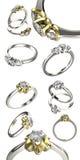 Grande raccolta con gli anelli di diamante Priorità bassa nera dei monili del tessuto dell'argento e dell'oro Fotografie Stock Libere da Diritti