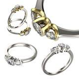 Grande raccolta con gli anelli di diamante Priorità bassa nera dei monili del tessuto dell'argento e dell'oro Fotografie Stock