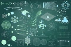 Grande raccolta degli elementi, dei simboli e degli schemi di fisica Fotografia Stock Libera da Diritti
