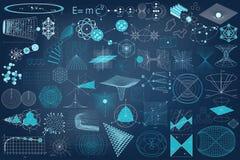 Grande raccolta degli elementi, dei simboli e degli schemi di fisica Fotografia Stock