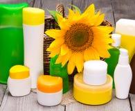 Grande raccolta dei cosmetici differenti di cura del corpo fotografia stock libera da diritti