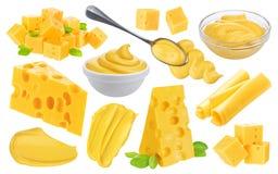 Grande raccolta del formaggio Pezzi differenti di formaggio, salsa di formaggio isolata su fondo bianco Fotografia Stock