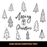 Grande raccolta dell'albero di Natale disegnato a mano e del Buon Natale di citazione per la cartolina d'auguri, le insegne, le a Fotografie Stock