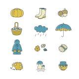 Grande raccolta delle icone lineari con differenti simboli di autunno Abbigliamento, inceppamento, tempo, funghi, raccolto ed alt Immagini Stock Libere da Diritti