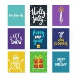 Grande raccolta modelli della carta luminosa del nuovo anno o di Natale con i disegni e l'iscrizione della spazzola fatta nel vet Immagini Stock
