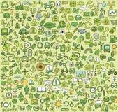 Grande raccolta scarabocchiata delle icone di ECOLOGIA Immagini Stock