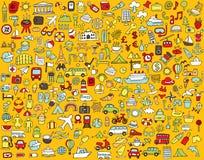 Grande raccolta scarabocchiata delle icone di turismo e di viaggio Fotografia Stock