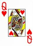 Grande rainha do cartão de jogo do índice dos corações foto de stock royalty free