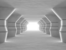 Grande rappresentazione leggera vuota del corridoio 3D Fotografie Stock