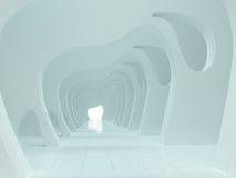 Grande rappresentazione leggera vuota del corridoio 3D Fotografia Stock