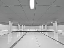 Grande rappresentazione leggera vuota del corridoio 3D Fotografia Stock Libera da Diritti