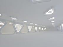 Grande rappresentazione leggera vuota del corridoio 3D Immagini Stock