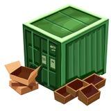 Grande recipiente verde para bens e caixa ilustração royalty free