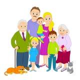 Grande ritratto della famiglia Fotografia Stock