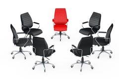 Grande riunione di affari Sedie che sistemano in tondo con il cuoio rosso illustrazione di stock