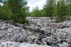 Grande rivière en pierre Taganay fleuve Russie les monts Oural méridionaux blancs Image stock