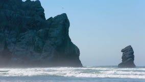 Grande roccia alla baia di Morro in California sulla spiaggia sabbiosa archivi video