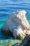 Grande roche avec la mouette qui émerge de l'Italien et du crystall Photos stock