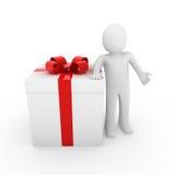 grande rosso del contenitore di regalo dell'uomo 3d Immagini Stock