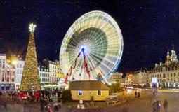 Grande roue à Lille à Noël Stock Photos